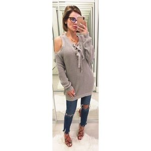 J.O.A. Cold Shoulder Lace Up Sweater in Gray